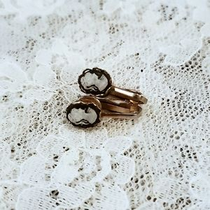 Vintage Faux Cameo White Black Clip-On Earrings